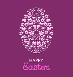 Happy easter paschal egg from flowers and herbs vector