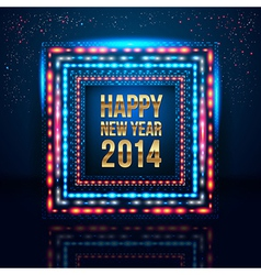 Happy New Year 2014 poster with frame made of vector image vector image