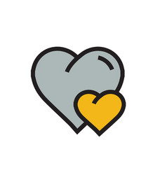Heart mini icon cartoon yellow color vector