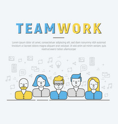 Infographic of team work in thin line style vector