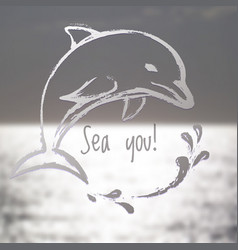 Ink hand drawn dolphin on blurred sea background vector