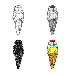 Italian gelato icon in cartoon style isolated on vector