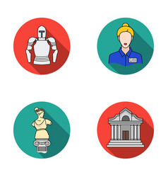 Knight armor guide statue museum building vector