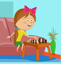 Little girl playing chess sitting on sofa in room vector