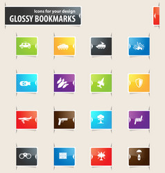 Military and war bookmark icons vector