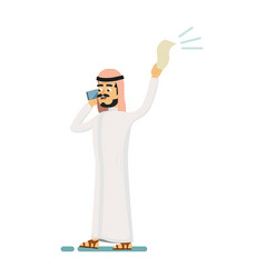 Muslim businessman speaking on phone vector