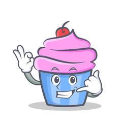 okay cupcake character cartoon style call me vector image vector image