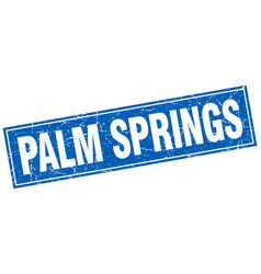 Palm springs blue square grunge vintage isolated vector