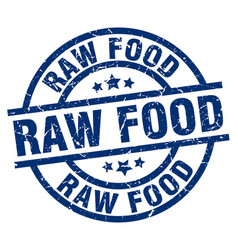 Raw food blue round grunge stamp vector
