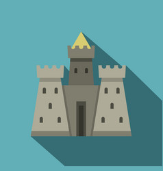 Residential mansion with towers icon flat style vector