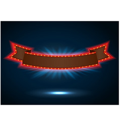 Ribbon retro background light banner vector