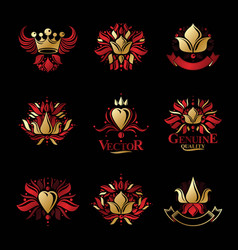 royal symbols flowers floral and crowns emblems vector image vector image