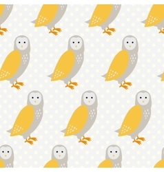 Seamless pattern with cute cartoon owls on grey vector image