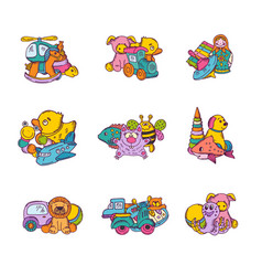 set of kid toys piles vector image vector image