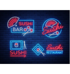 set of logos signs in neon style on sushi vector image