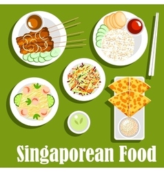 Singaporean national cuisine flat icon vector image