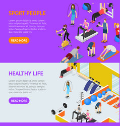 sport people in gym healthy life concept banner vector image