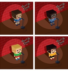 stand up comedy isometric block cartoon vector image