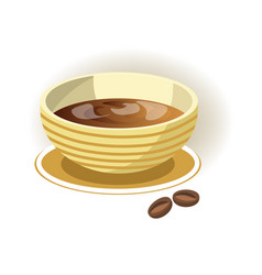 Striped bowl on saucer with delicious coffee vector