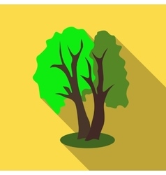 Two trees icon flat style vector
