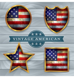 Vintage american flag badges and emblems vector
