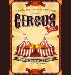 vintage grand circus poster with marquee vector image