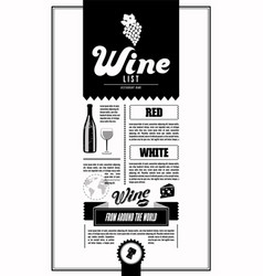 Wine list design template vector