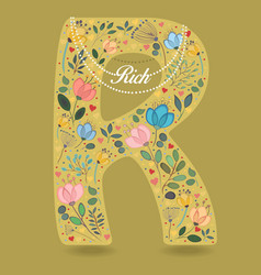 yellow letter r with floral decor and necklace vector image
