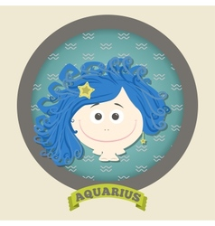 Zodiac signs collectionCute horoscope - aquarius vector image
