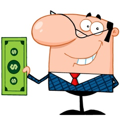 Business Manager Holding A Dollar Bill vector image