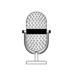 Monochrome contour with desktop microphone vector