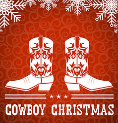 Cowboy red christmas card with text and snowflakes vector