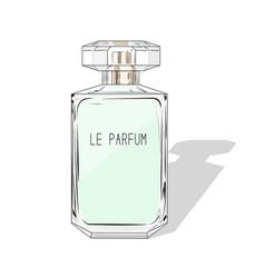 Woman perfume bottle fashion cosmetics vector