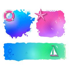 Marine watercolor banners vector