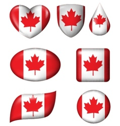 Canada flag in various shape glossy button vector