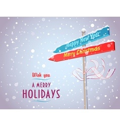 Road sign with arrows in holiday directions vector