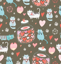 texture funny love cats vector image
