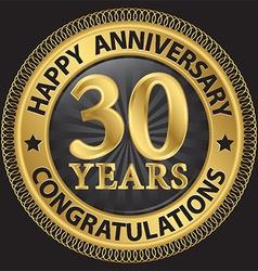 30 years happy anniversary congratulations gold vector