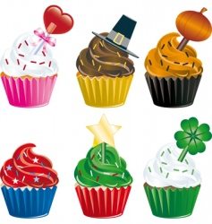 Holiday cupcakes vector