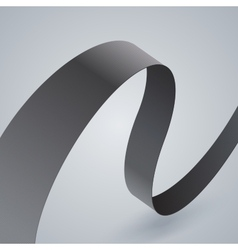 Gray fabric curved ribbon on grey background vector