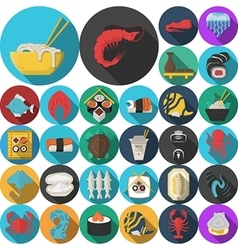 Asian menu flat round icons collection vector