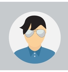 Man Face Circle Icon in Trendy Flat Style vector image