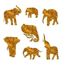 Set of hand drawn isolated ethnic elephants vector image