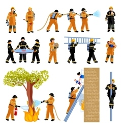 Firefighter people flat color icons set vector