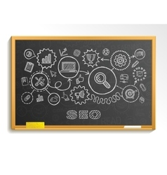 Seo hand draw integrated icons set on school vector