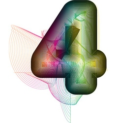 Abstract colorful number 4 vector