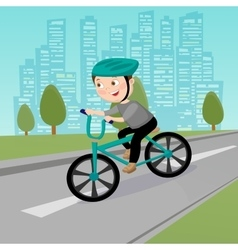 Happy boy riding on bicycle in the city vector