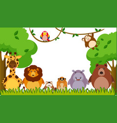 background template with wild animals in park vector image