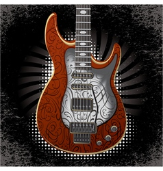 banner with acoustic guitar on black background vector image vector image