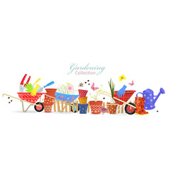 banner with border of colorful gardening tools vector image